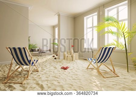 Relaxing in quarantine with the beach and deck chair in the living room at home (3D Rendering)