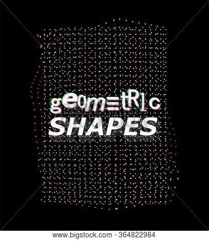 Synthwave Digital Shape, Vaporwave, Retrowave, Cyberpunk Ai Quantum Computer Structure. Vector Digit