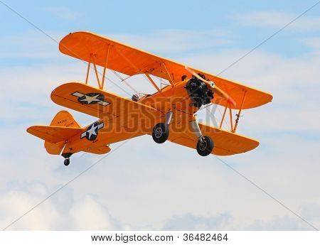 PILSEN, CZECH REPUBLIC - AUGUST 25: Historic american training biplane Boeing B 75 Stearman, Pilsen Aeronautical Days on August 25, 2012 in Pilsen, Czech Republic.