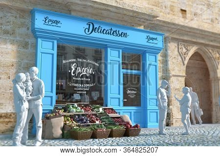 3D rendering of an old fashioned green grocer in a European town with lots of charm. Window text translation Grocer baker, wine, cold meats made in France, home delivery from Monday to sunday