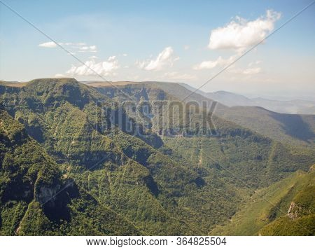 Beautiful Landscape Of Fortaleza Canyon And Green Rainforest, Cambara Do Sul, Rio Grande Do Sul, Bra