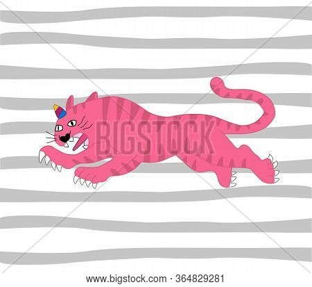 Tiger With A Unicorn Horn In The Color Of The Rainbow. Tigercorn. Vector Illustration. Asian Style T