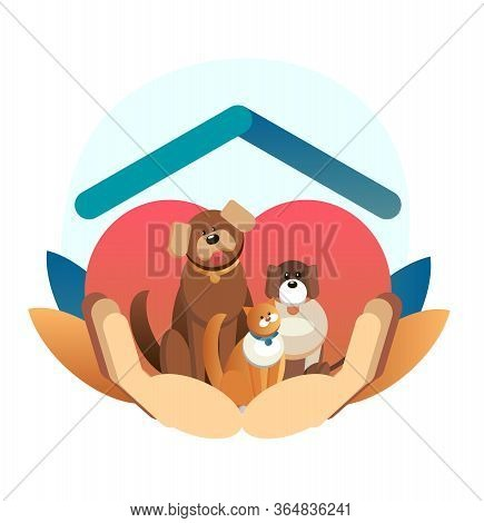 Cartoon Web Template. International Homeless Animals Day. Cute Cat And Dog In A Box With I Need Home