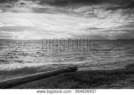 A Lonely Log Lies On The Beach At Pirita, Estonia. There Is A Garrison Island In The Distant Horizon