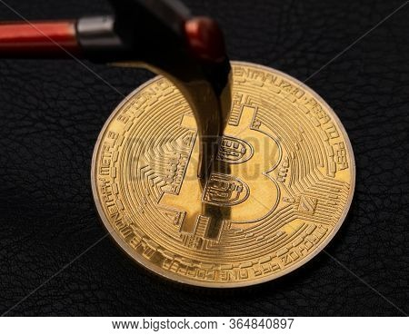 Bitcoin Mining With A Pickaxe, Btc Cryptocurrency Mining Concept