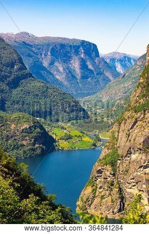 Lake Vassbygdevatnet Located In Aurland, Sogn Og Fjordane, Norway Landscape In Summer Time.