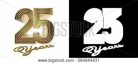 Number 25 (number Twenty-five) Anniversary Celebration Design With Five Parallel Lines On A White Ba