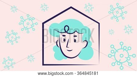 Digital illustration of a house with a woman in it. Public health pandemic coronavirus Covid 19 social distancing and self isolation in quarantine lockdown concept digitally generated image