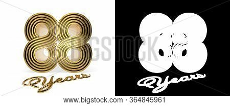 Number 88 (number Eighty-eight) Anniversary Celebration Design With Five Parallel Lines On A White B