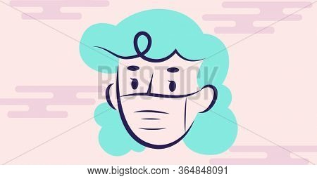 Digital illustration of a woman wearing a face mask. Public health pandemic coronavirus Covid 19 social distancing and self isolation in quarantine lockdown concept digitally generated image