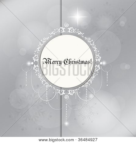 Christmas card: Light silver abstract Christmas background with white snowflakes, vector illustration.