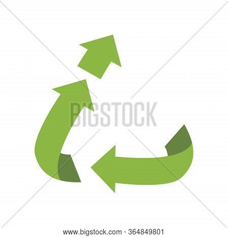 Vector Upcycling Sign, Isolated On White Background. Green Reuse Symbol For Ecological Design, Label