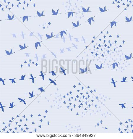 Crane, Duck, Sparrow. Flock Of Birds Flying. Vector Outline And Black Image Silhouette On Blue Seaml