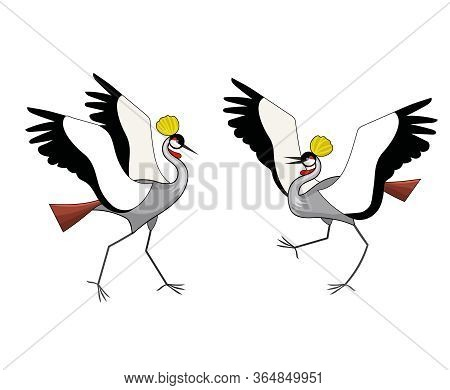 Two Crowned Cranes Are Fighting. Mating Behavior. Vector Color Illustration.