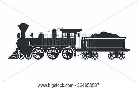 Vintage Silhouette Steam Locomotive In Retro Style. Vector Illustration