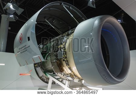 August 30, 2019 Zhukovsky, Russia. Russian Advanced Civil Turbofan Aircraft Engine Pd-14 Under Devel