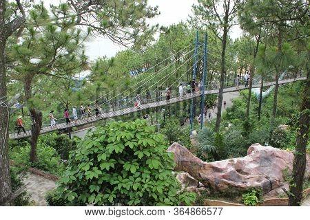Hon Dau, Do Son,hai Phong, Vietnam- 07 Jun,2014:  Beautiful Suspension Bridge Made By Wooden With Vi