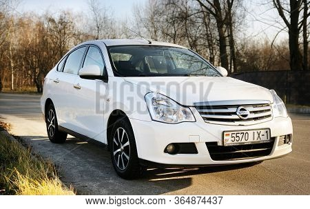 Belarus, Minsk-october 31, 2019:private Eco Car, Nissan Almera  Parked In A Parking Lot In The Fores