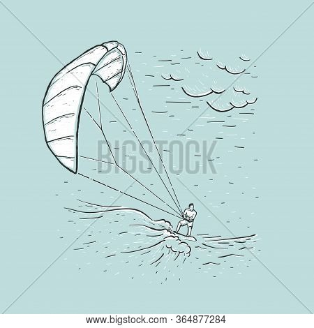 Kite Surfing. Sketch Vector Blue Illustration With Hand Drawn Kite Surfer, Clouds, Wave. Water Sport