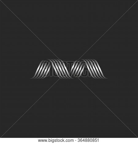 Letter M Logo Initial Creative Monogram, Metal Ribbons Smooth Thin Lines