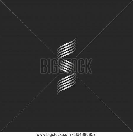 Ornamental Letter S Logo Monogram, Overlapping Thin Lines, Weaving Metal Stripes