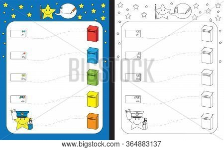 Preschool Worksheet For Practicing Fine Motor Skills - Tracing Dashed Lines From Letters To Mailboxe