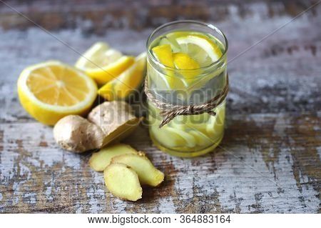Selective Focus. Ginger Lemon Drink. Ginger Water With Lemon. Fresh Ginger And Lemon. Immune Enhanci