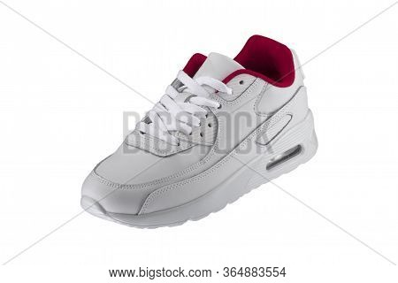 Sport Shoes. White Sneaker With Red Accents On A White Background.
