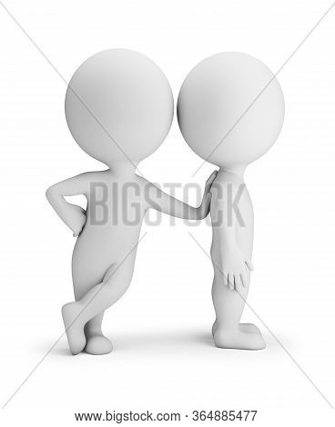 3d Small Person Leaned On Another. 3d Image. White Background.