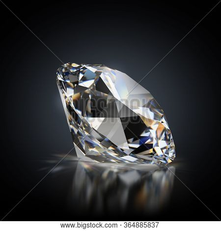 3d Generated Image. Diamond On A Black Reflective Background.