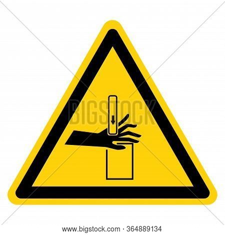 Warning Crush And Cutting Hand Hazard Symbol Sign ,vector Illustration, Isolate On White Background