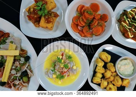 Spanish Tapas. Tapa Is An Appetizer Or Snack In Spanish Cuisine And Translates To Small Portion Of A