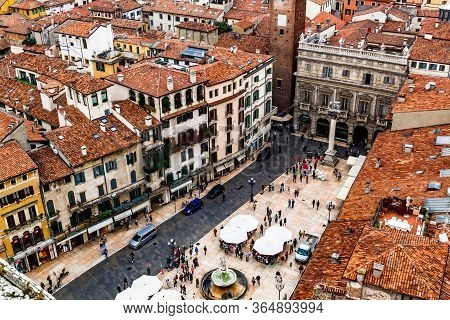 Verona, Italy - 23 September 2017: Aerial View Of Piazza Delle Erbe From Torre Dei Lamberti.