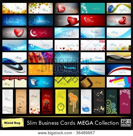 Mega collection of 52 professional and designer business cards or visiting cards on different topic, arrange in horizontal and vertical. EPS 10. poster
