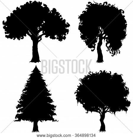 Illustration Decorative Trees Silhouettes With Amorphous Foliage