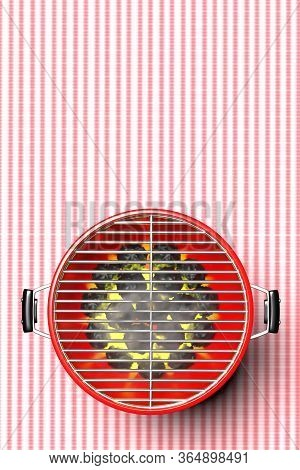 Bbq Grill. Barbecue Round Red Color Against Picnic Tablecloth Background. 3D Illustration