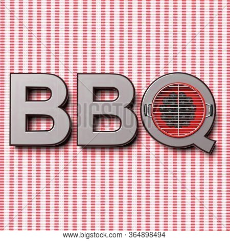 Bbq Text Against Picnic Tablecloth Background. 3D Illustration
