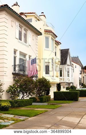 Marina District, San Francisco, California, United States - March 16, 2012: Facade Of Traditional Ho