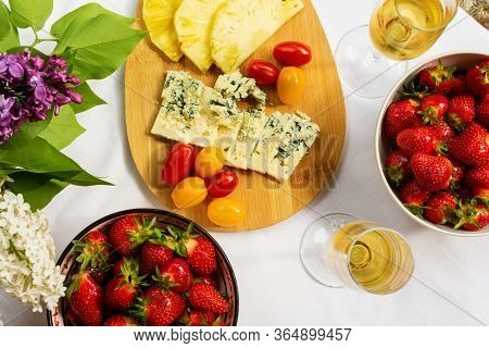 Cheese Plate With Dorblue, Pineapple Slices And Cherry Tomatoes Serving With Bowl Of Fresh Perfect S