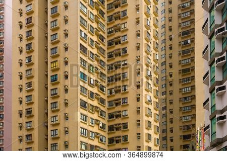 Hong Kong Island, Hong Kong, China, Asia - December 05, 2008: Close-up To A Densely Populated Apartm