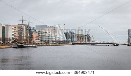 River Liffey With Sailboat Jeanie Johnston And The Samuel Beckett Bridge In Dublin