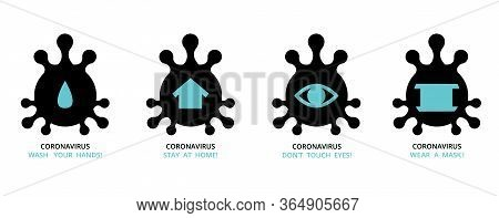Virus , Bacteria , Microbe Icon Shape Set , Group Of Schematic Pictures Of Medicine Icons With Text