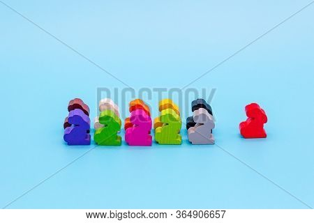 The Concept Of A Group Of People Walking In A Column In One Direction, Same Path, Common Opinion, An