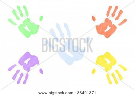 Five multicolored hand prints against a white background