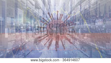 Digital illustration of macro coronavirus Covid-19 cell with data processing, statistics showing over an empty warehouse in the background. Global business and distribution during the Coronavirus