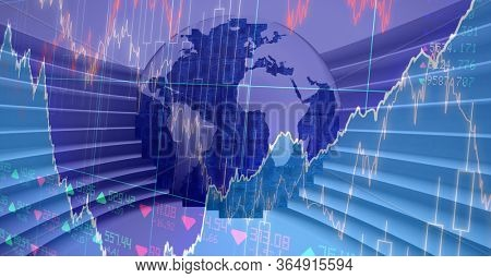 Digital illustration of Earth over data processing, statistics showing in the background. Global business and distribution during the Coronavirus Covid-19 pandemic concept digital composite.