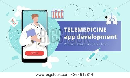 Telemedicine App Development Banner Template With Male Doctor On Mobile Screen And Medical Icons Aro