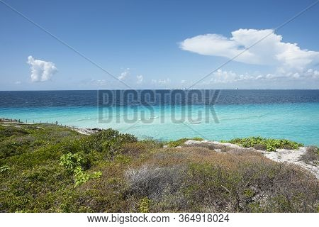 Panoramic View Of The Southern Tip In Isla Mujeres Mexico. In The Background The Caribbean Sea And T