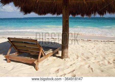 White Sand Blue Ocean Nature Tropical Beach Island. Caribbean Ocean And Blue Sky. Small Wild Beach C