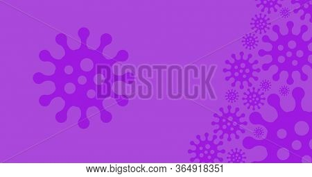Digital illustration of purple outline of macro cells of coronavirus Covid 19 spreading over purple background. Precaution cleanliness hygiene coronavirus Covid-19 pandemic concept digitally generated